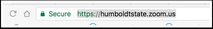 Screen shot of Humboldt State University Zoom URL