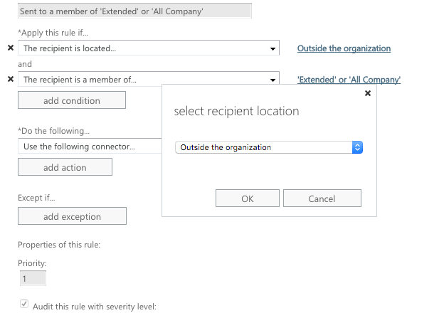 Select the recipient is outside the organisation