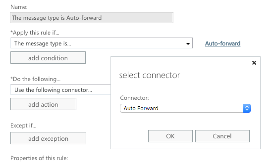 Select your Auto Forward connector