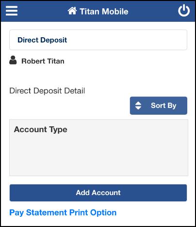Enroll in Direct Deposit screen