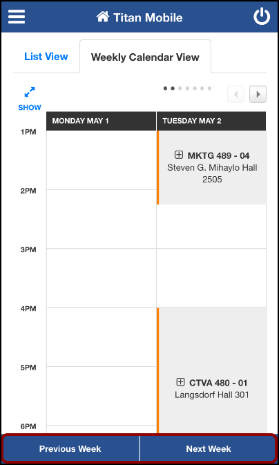 My Weekly Schedule screen