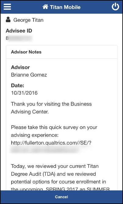View My Advisor Notes screen
