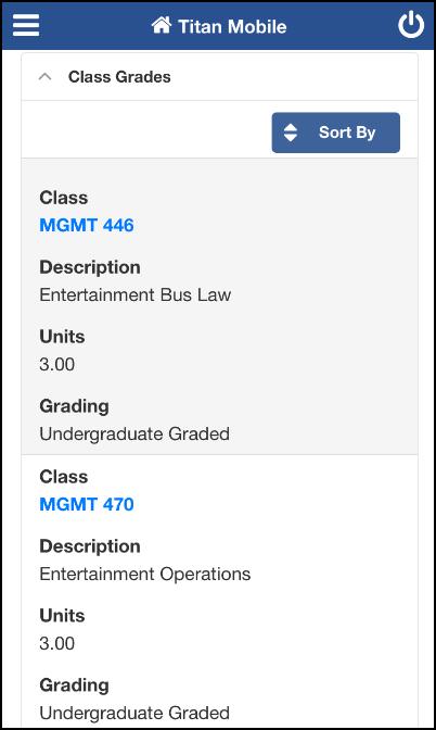 Semester grade details screen