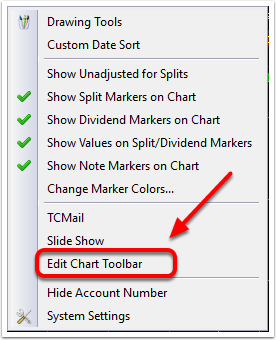 2. Select Edit Chart Toolbar.