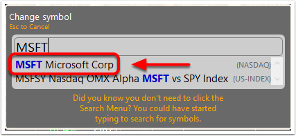 4. Click the symbol/company from the drop-down menu.