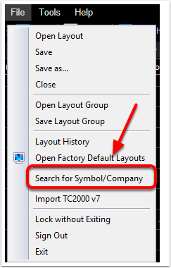 2. Click Search for Symbol/Company.