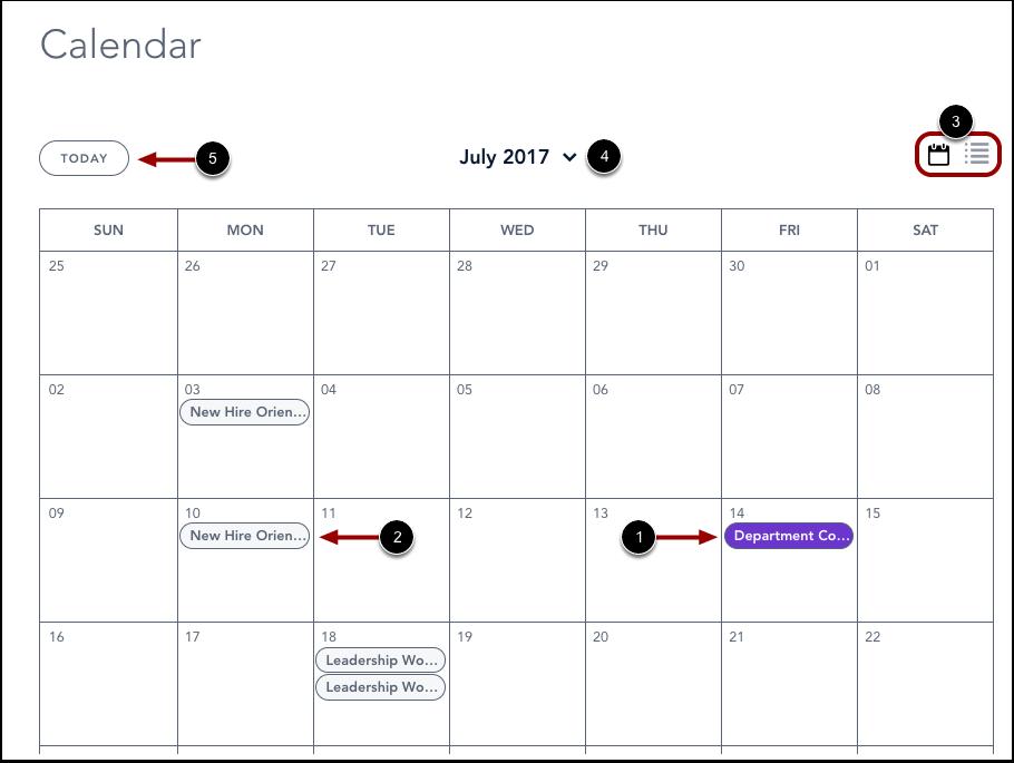 Voir le calendrier