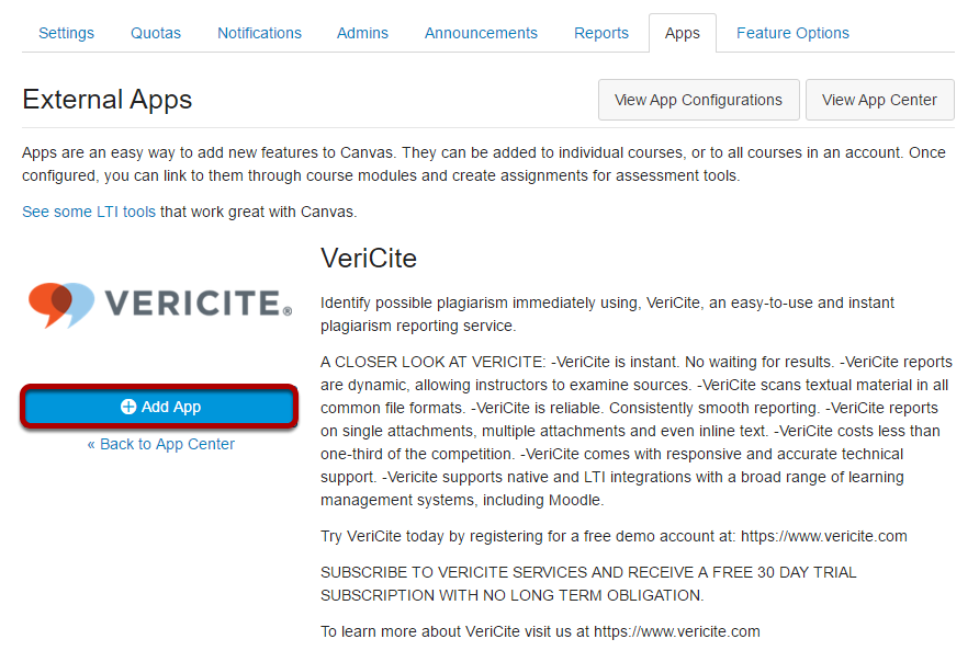 Select VeriCite and click Add App.