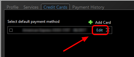 4. Select the blue Edit option to the right of the Credit Card you would like to update.