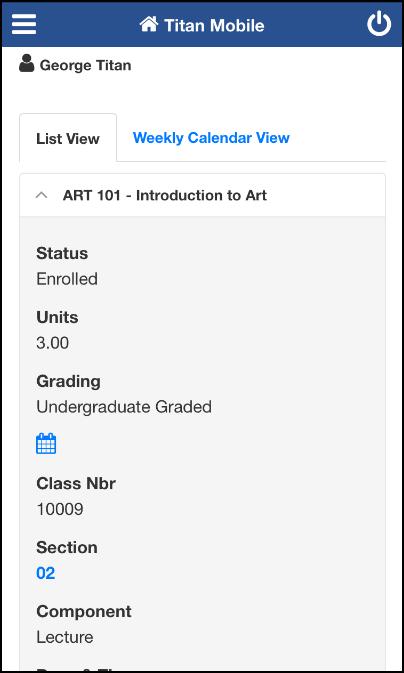 My Class Schedule screen
