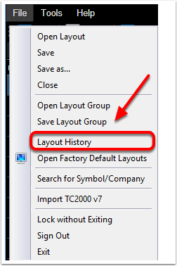 2. Click on Layout History.
