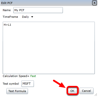 6. Click OK to save the PCF to your condition library and open targeting mode.
