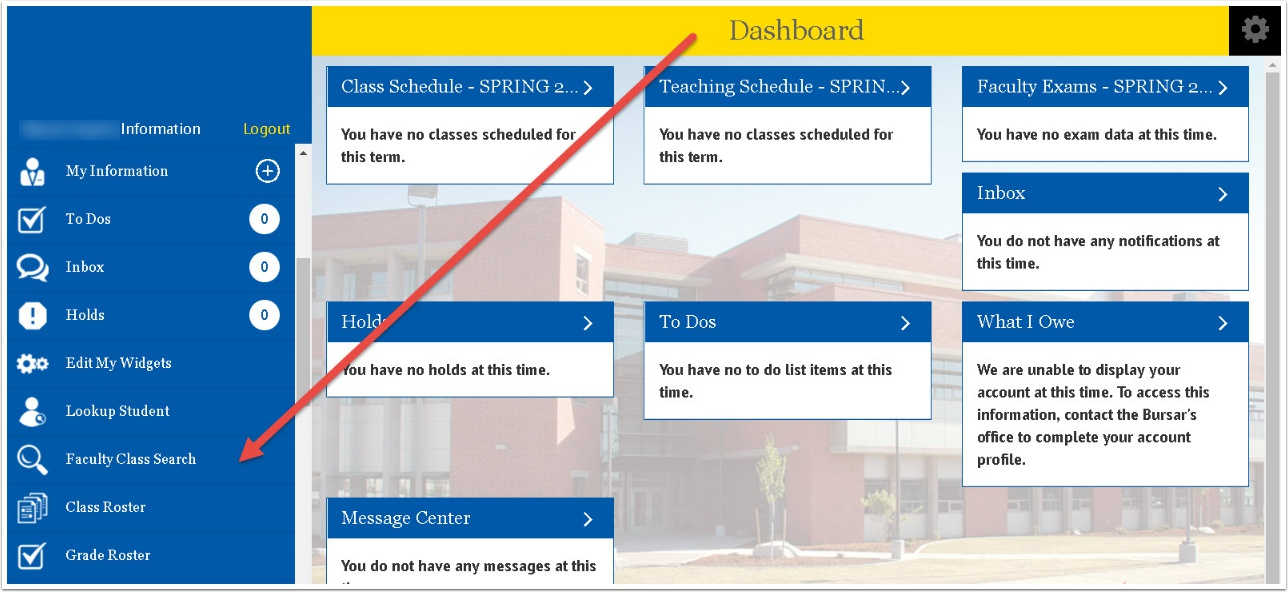 Dashboard - Faculty Class Search link