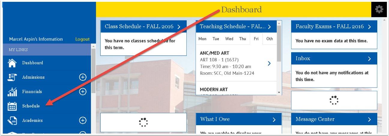 Dashboard - Schedule screen