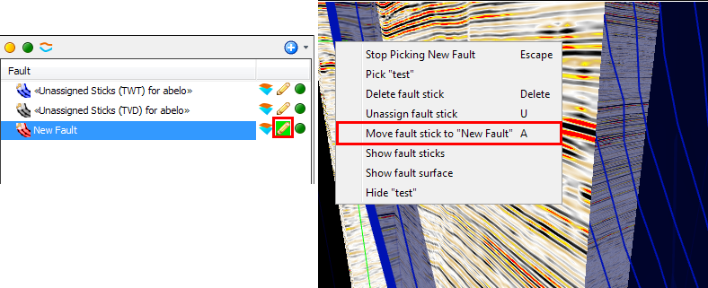 Assign fault stick(s)