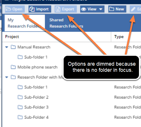 Activate Research Folder Window Toolbar