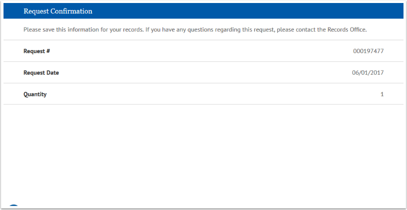Request Confirmation page