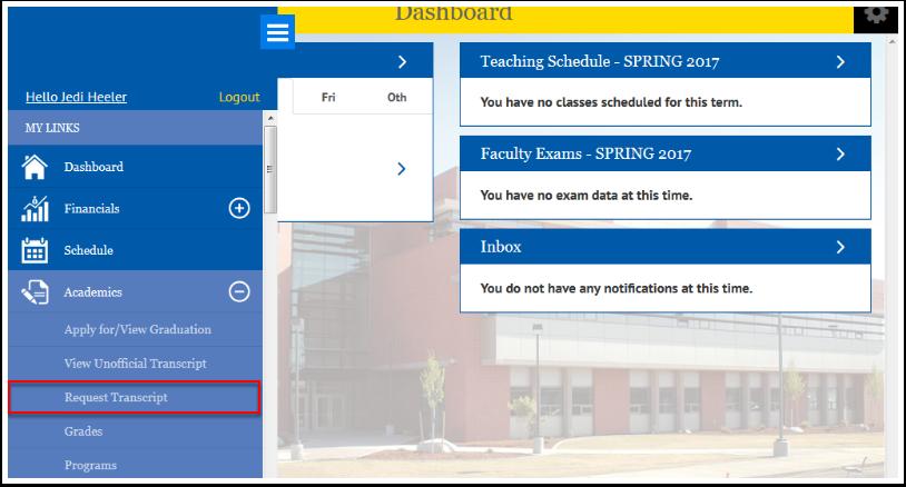 Academics Request Transcript option