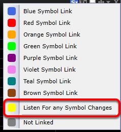 If you choose yellow this window will change regardless of symbol link group you use.