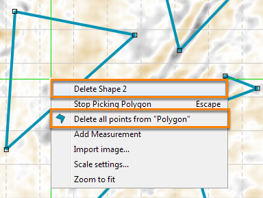 Deleting polygon points and shapes