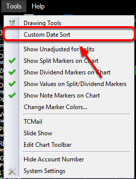 2. Select Custom Data Sort.