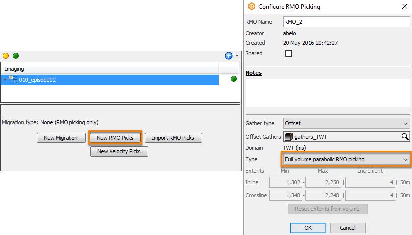 Configure full volume parabolic RMO Picking
