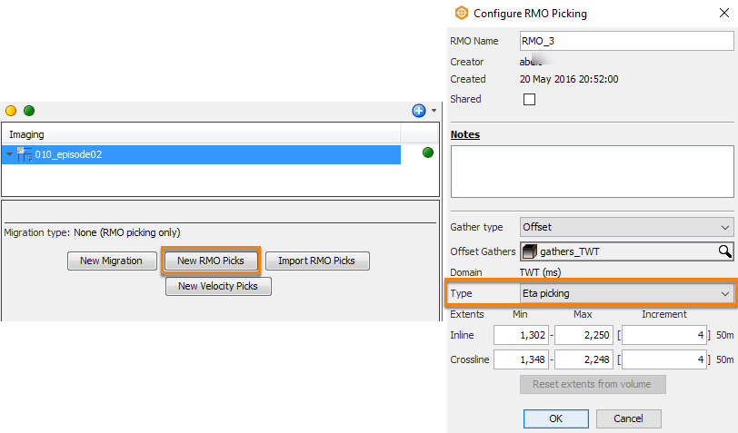 Configure eta picking