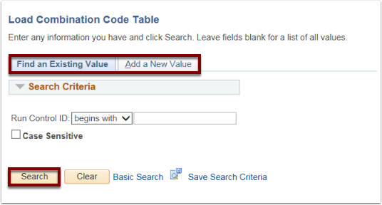 Load Combination Code Table and Account Code Load Parameters sections