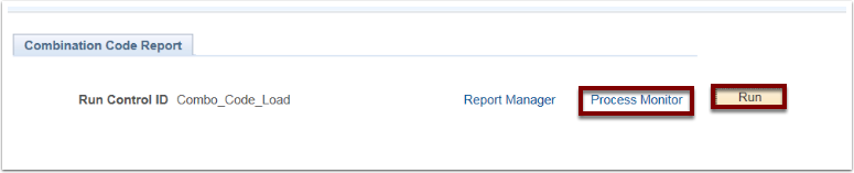 Combination Code Report tab