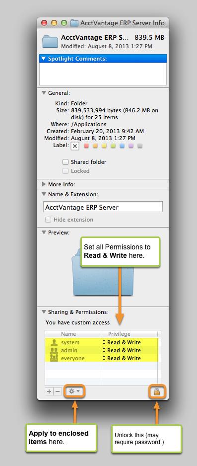 8. Set the Permissions for the AcctVantage ERP Server folder