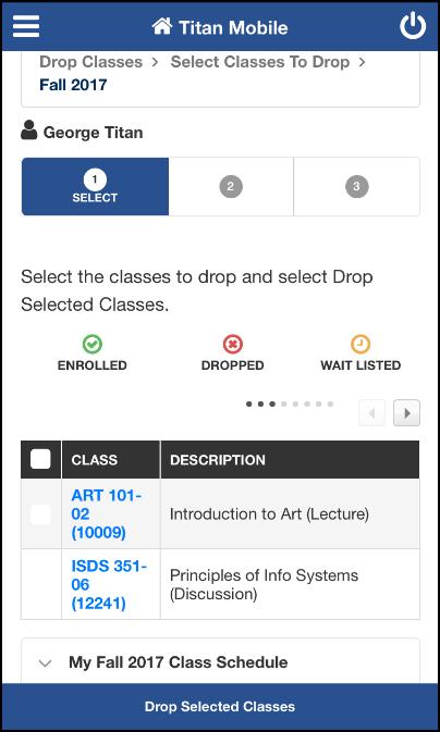 Enrollment: Drop Classes screen