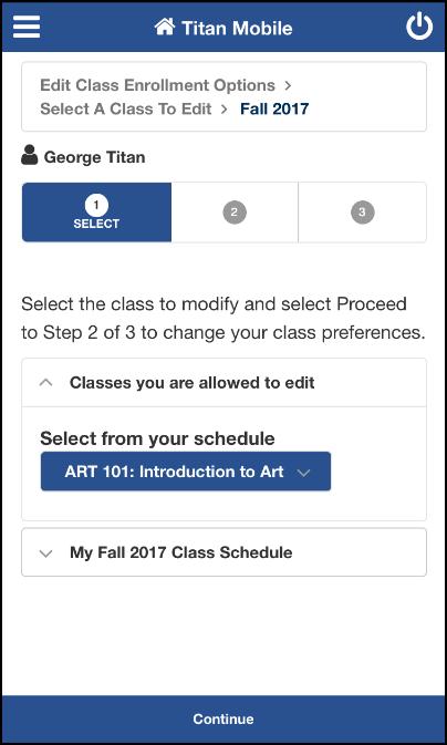 Enrollment: Edit a Class screen