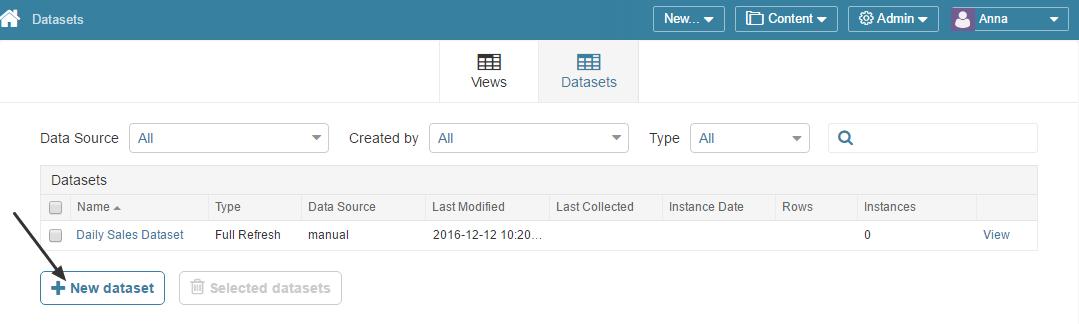 Access Admin > Datasets