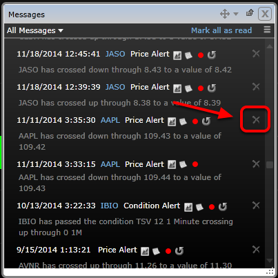 4. Delete any message by clicking on X next to that alert.