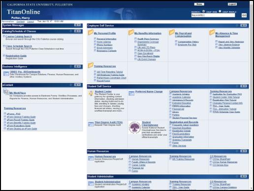 Titan Online homepage