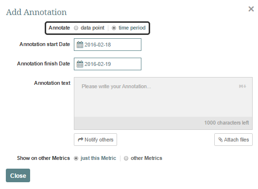 In the 'Add Annotation' pop-up select either 'Data Point' or 'Time Period' option