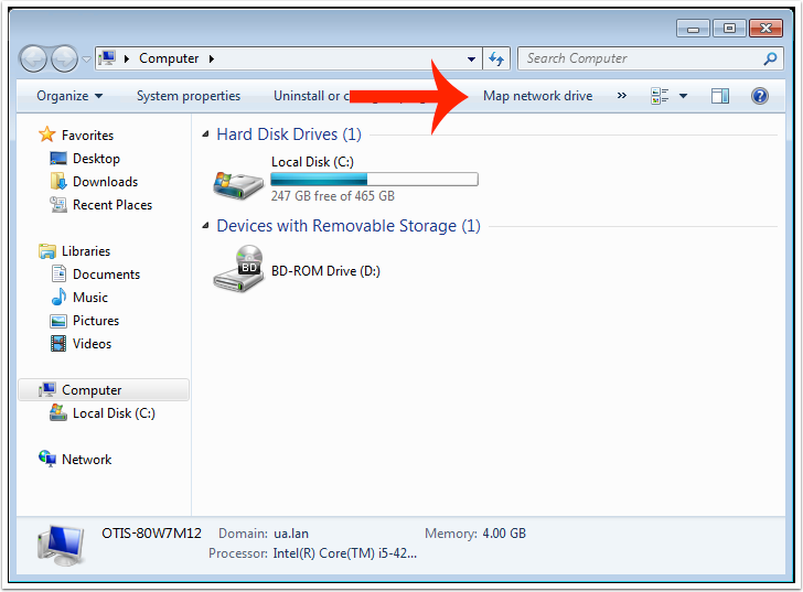 "Click on ""Map Network Drive""."
