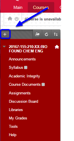 """In your course, access the course menu on the upper left side and click the """"+"""" button"""