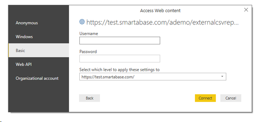 A pop up window that looks like the image will appear. Ensure you select the Basic tab (as shown in the image above) and enter your Smartabase login credentials.