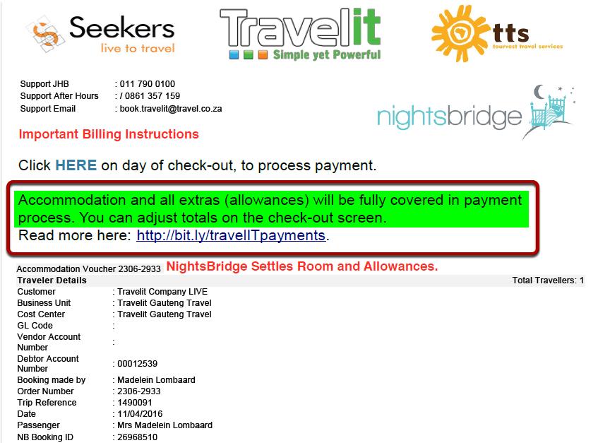 Voucher 2: NightsBridge Settles Room and Allowances