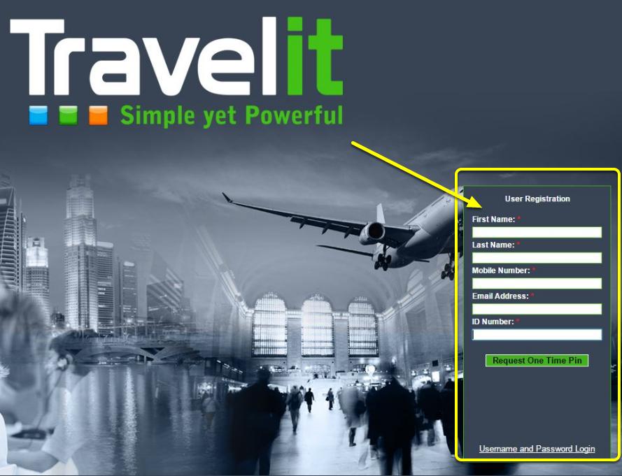 Link opens TravelIT registration form (first time)