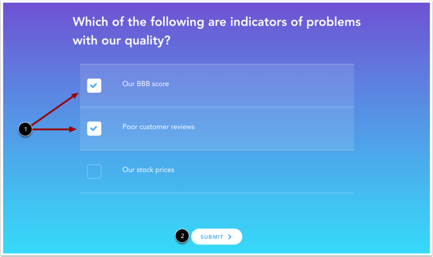 View Multiple Answers Quiz