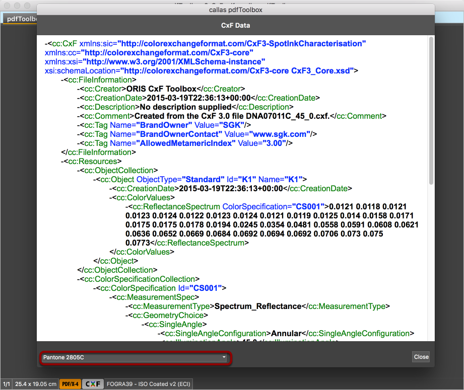 A windows opens that displays the CxF data for the first spot color in its XML structure
