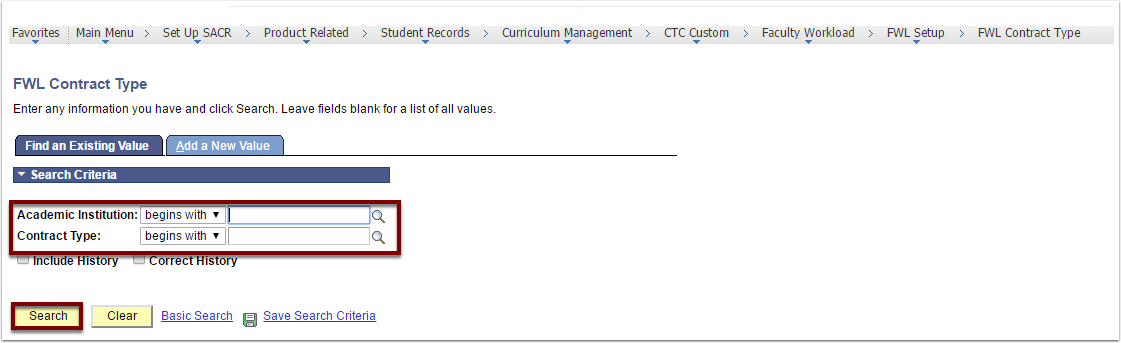 Find an Existing Value and Add a New Value tabs