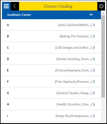 Course Catalog categories