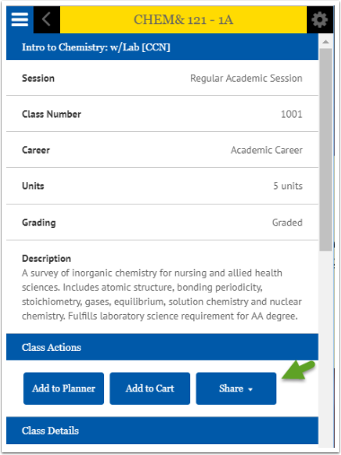 Browse Classes share button