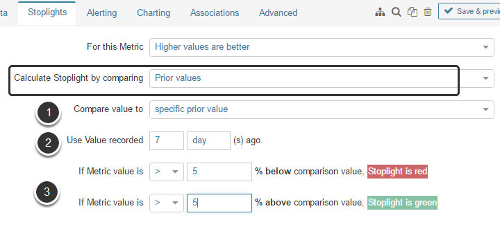 Calculate by comparing to 'Prior values' (specific prior value)