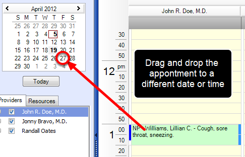 3. Drag and Drop to Reschedule Appointment