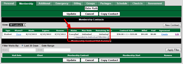 Cancelled Membership