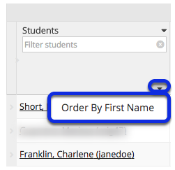 Order students by First Name.